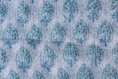 Kota Doria Cotton Sanganeri Hand Block Printed Fabric