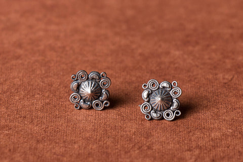 Antique Padma Sterling Silver Stud Earrings