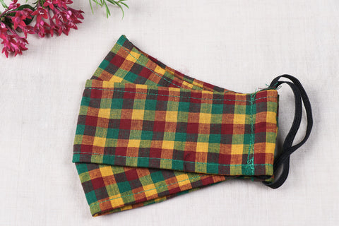 3 Layer Cotton Checks Fabric Maska Fit Face Cover
