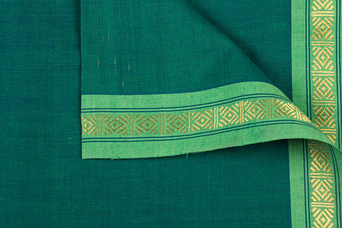 Olive Green - Dama Mangalgiri Pure Handloom Cotton Fabric with Zari Border