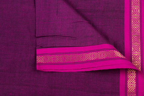 Dark Magenta - Dama Mangalgiri Pure Handloom Cotton Fabric with Zari Border