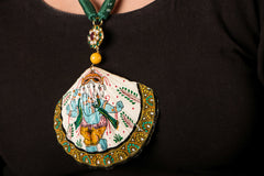 Patachitra Handpainted Sea Shell Necklace - Ganesha