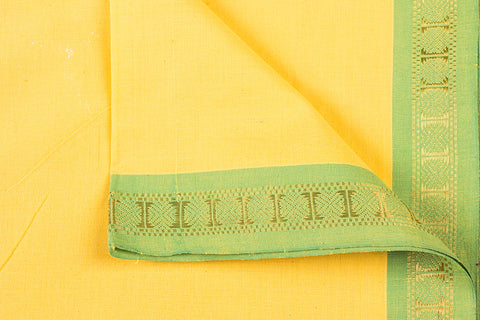 Yellow - Dama Mangalgiri Pure Handloom Cotton Fabric with Zari Border