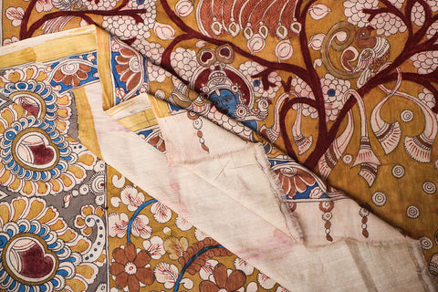 Handpainted Srikalahasti Kalamkari Pen Work Mangalgiri Handloom Cotton Saree