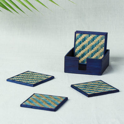 Handmade Bamboo Square Coasters (Indigo) Set of 6