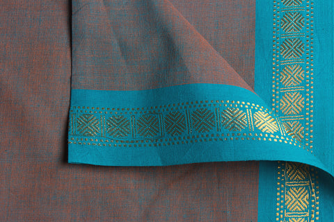 Fig - Dama Mangalgiri Pure Handloom Cotton Fabric with Zari Border