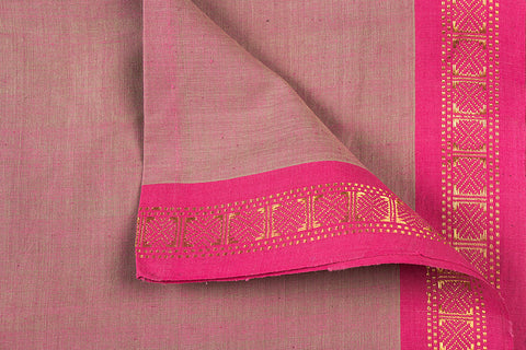 Burgundy Rose - Dama Mangalgiri Pure Handloom Cotton Fabric with Zari Border