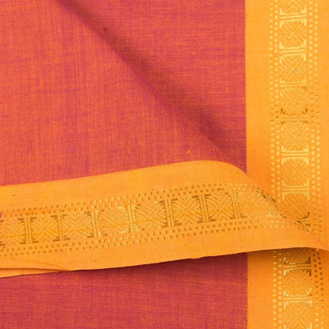 Medium Orange - Dama Mangalgiri Pure Handloom Cotton Fabric with Zari Border