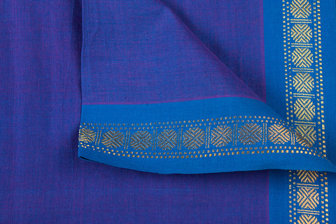 Sapphire - Dama Mangalgiri Pure Handloom Cotton Fabric with Zari Border