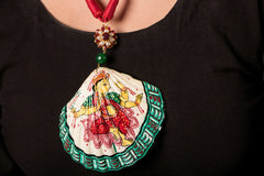 Patachitra Handpainted Sea Shell Necklace - Lakshmi