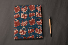 Handmade Block Printed Fabric Cover Diary 9x7