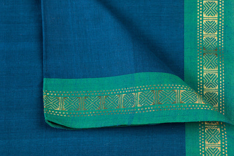 Dark Cerulean Blue - Dama Mangalgiri Pure Handloom Cotton Fabric with Zari Border