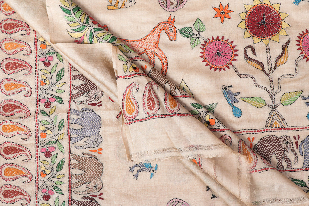 Authentic Bengal Kantha Embroidered Pure Tussar Silk Handloom Saree