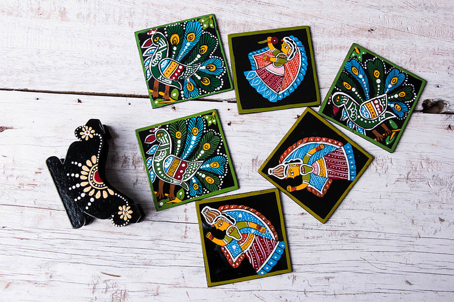 Tikuli Art Handpainted Wooden Coasters (Set of 6)
