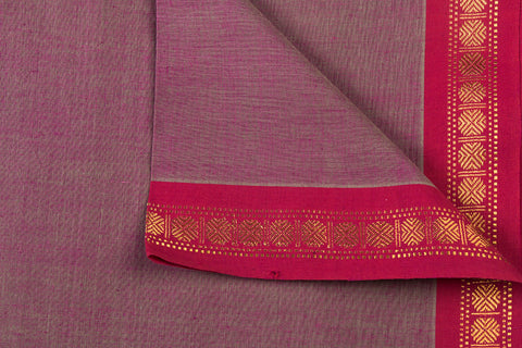 Rosewood - Dama Mangalgiri Pure Handloom Cotton Fabric with Zari Border