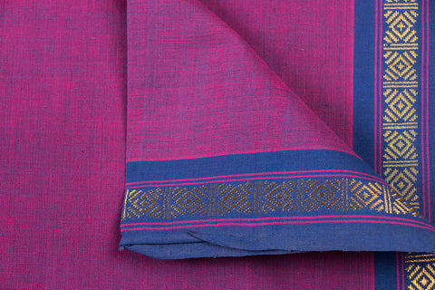 Fuchsia - Dama Mangalgiri Pure Handloom Cotton Fabric with Zari Border