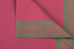 Punch Pink - Dama Mangalgiri Pure Handloom Cotton Fabric with Zari Border