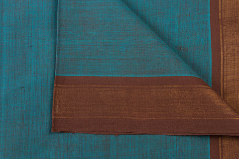 Slate Blue - Dama Mangalgiri Pure Handloom Cotton Fabric with Zari Border