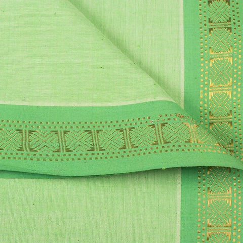 Light Green - Dama Mangalgiri Pure Handloom Cotton Fabric with Zari Border