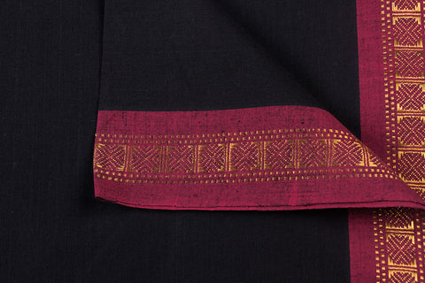 Black - Dama Mangalgiri Pure Handloom Cotton Fabric with Zari Border