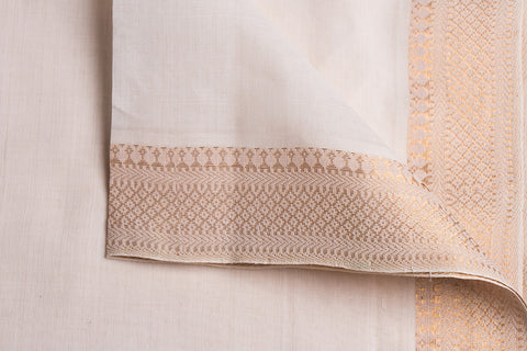 White - Original Mangalgiri Pure Handloom Cotton Fabric with Big Zari Border