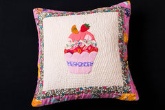 Applique Quilted Cushion Cover (16in x 16in)