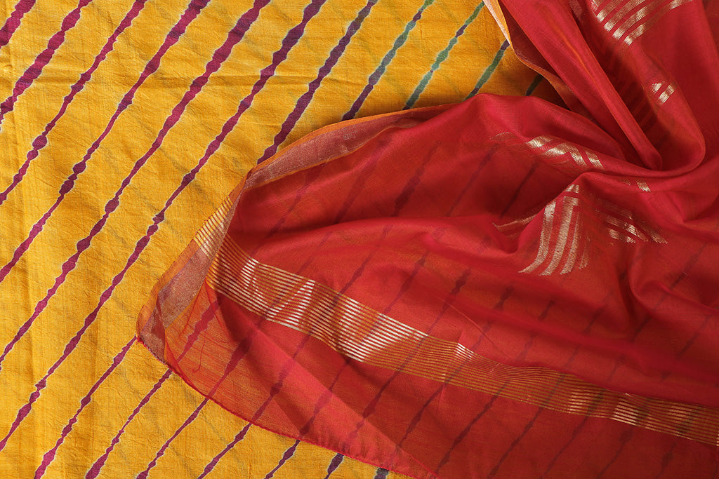 Leheria Tie-Dye Tussar Silk 2pc Suit with Chanderi Silk Handloom Zari Dupatta