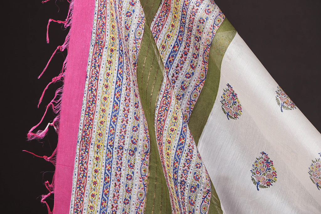 Pochampally Ikat Cotton 2pc Suit with Maheen Kaam Sanganari Signature Hand Block Print Chanderi Silk Dupatta