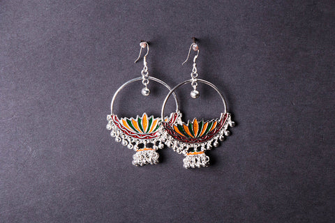 Handcrafted Paka Meenakari Earrings by Sukhomoy Mukherjee
