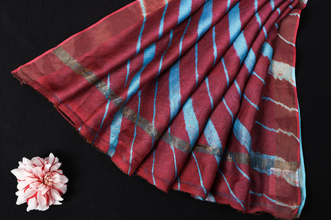 Maroon-Sky Blue Original Leheria Tie Dye Printed Maheshwari Silk Handloom Zari Border Saree with Blouse