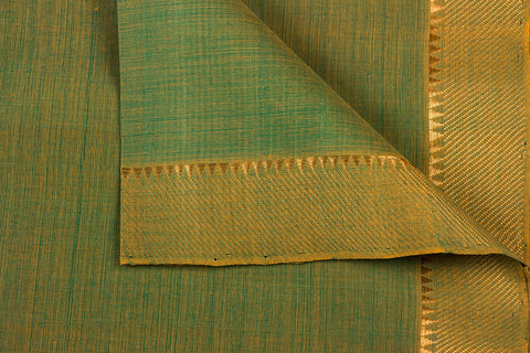 Olive - Original Mangalgiri Pure Handloom Cotton Fabric with Big Zari Border