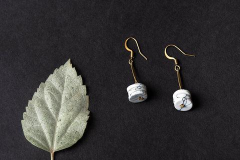 Ceramic and Brass Bead Earrings