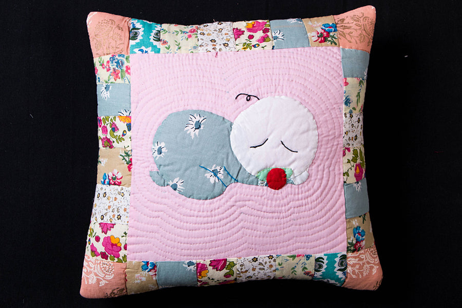Applique Quilted Cushion Cover (12in x 12in)