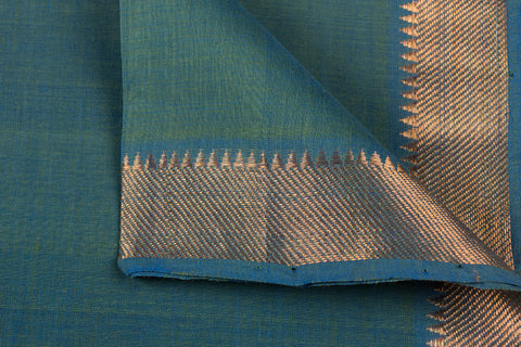 Rama Green - Original Mangalgiri Pure Handloom Cotton Fabric with Big Zari Border