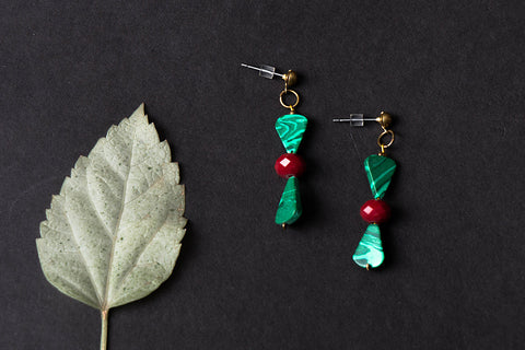 Ceramic and Crystal Bead Earrings