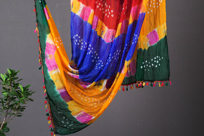 Jaipur Printed Bandhej Art Silk Dupatta with Tassels