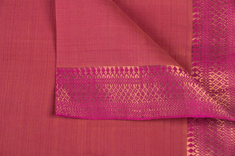 Dark Peach - Original Mangalgiri Pure Handloom Cotton Fabric with Big Zari Border