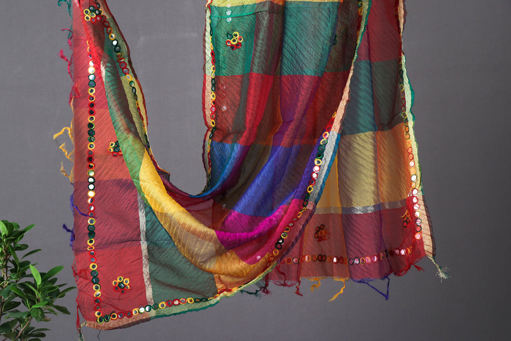 Jaipur Printed Art Silk Dupatta with Zari Border