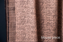 Traditional Bagru Hand Block Print Natural Dyed Cotton Saree with Blouse
