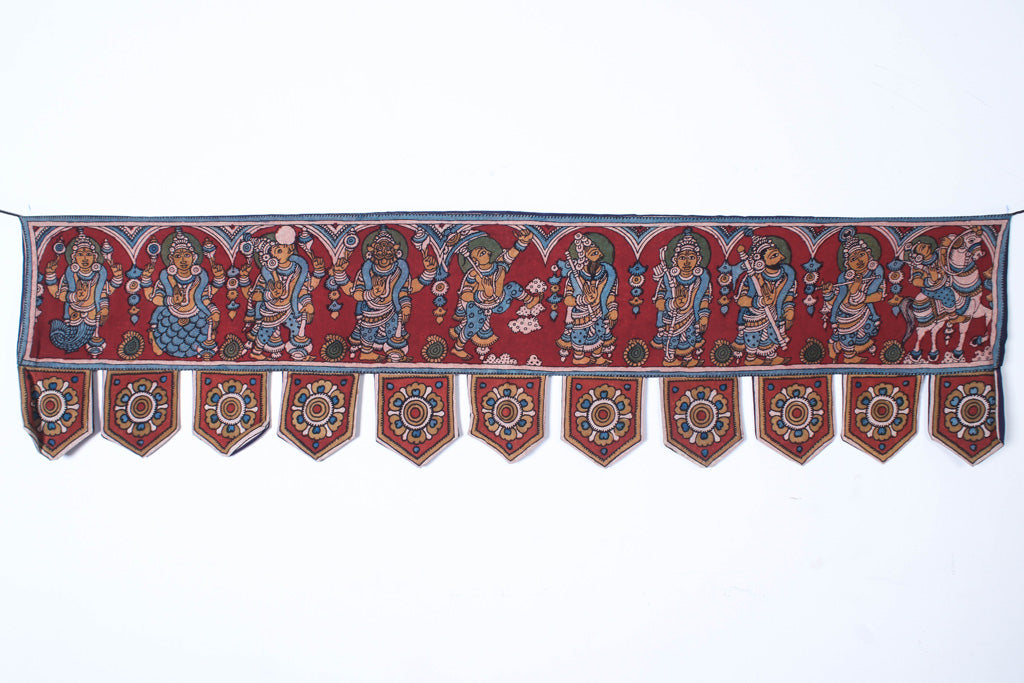 Handpainted Srikalahasti Kalamkari Pen Work Cotton Toran Hanging