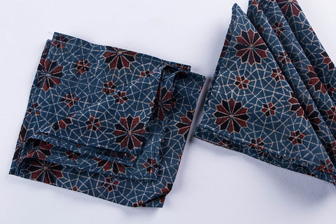 Rang Bahar Ajrakh Print Cotton Table Napkins Set of 6