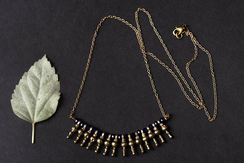 Dhokra & Crystal Bead Pendant Necklace in Brass Rolo Chain