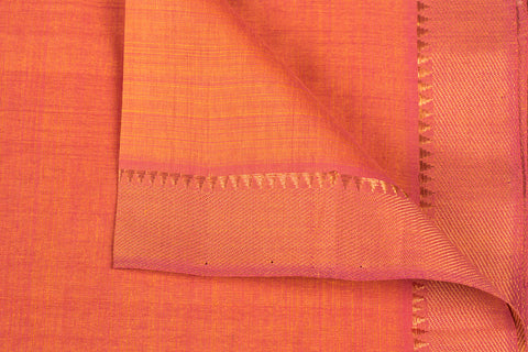Orange - Original Mangalgiri Pure Handloom Cotton Fabric with Big Zari Border