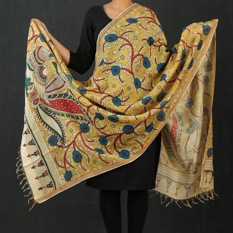 Handloom Chanderi Silk Handpainted Srikalahasti Pen Work Kalamkari Dupatta with Zari Border