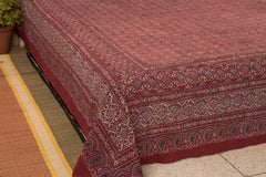 Chaar Kaam Ajrakh Block Print Natural Dyed Cotton Double Bed Cover