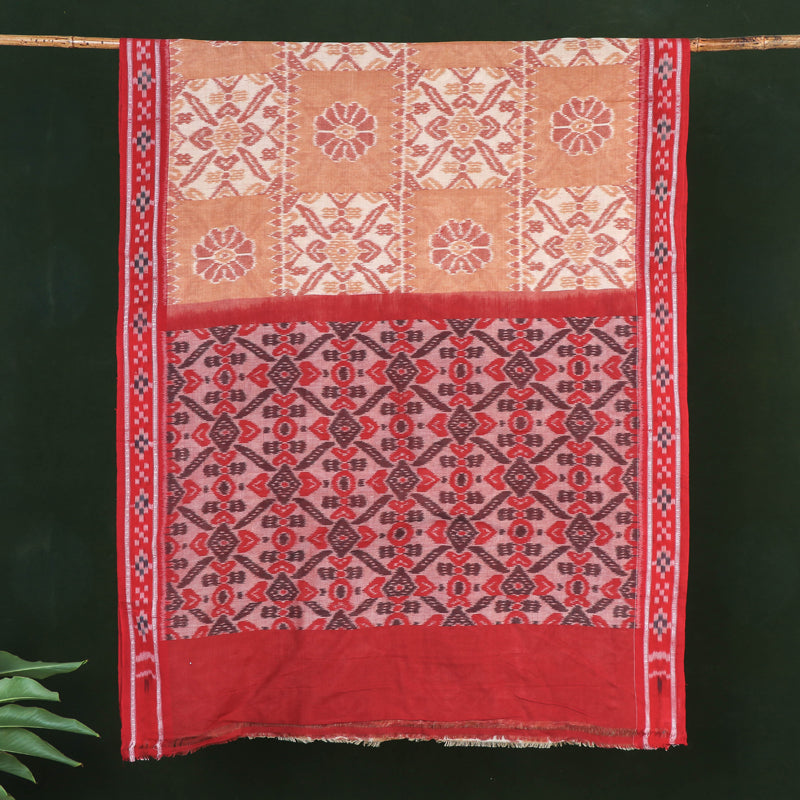 Sambalpuri Woven Ikat Handloom Mercerised Cotton Saree with Border