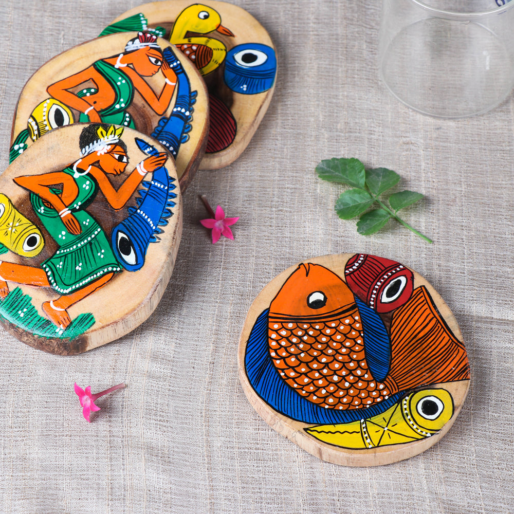 Traditional Patachitra Painted Akashmoni Wooden Coasters (Set of 4)