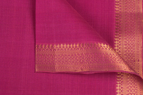 Dark Pink - Original Mangalgiri Pure Handloom Cotton Fabric with Big Zari Border