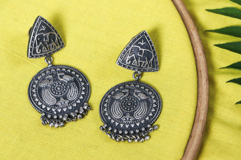 Antique Silver Finish Oxidized Special Brass Base Earrings