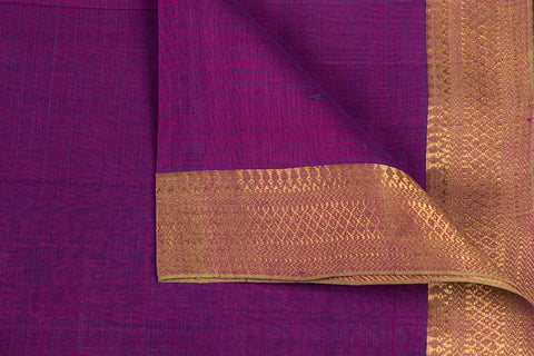 Purple - Original Mangalgiri Pure Handloom Cotton Fabric with Big Zari Border